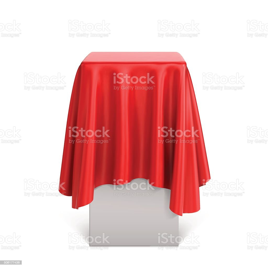 Presentation pedestal covered with a red silk cloth vector art illustration