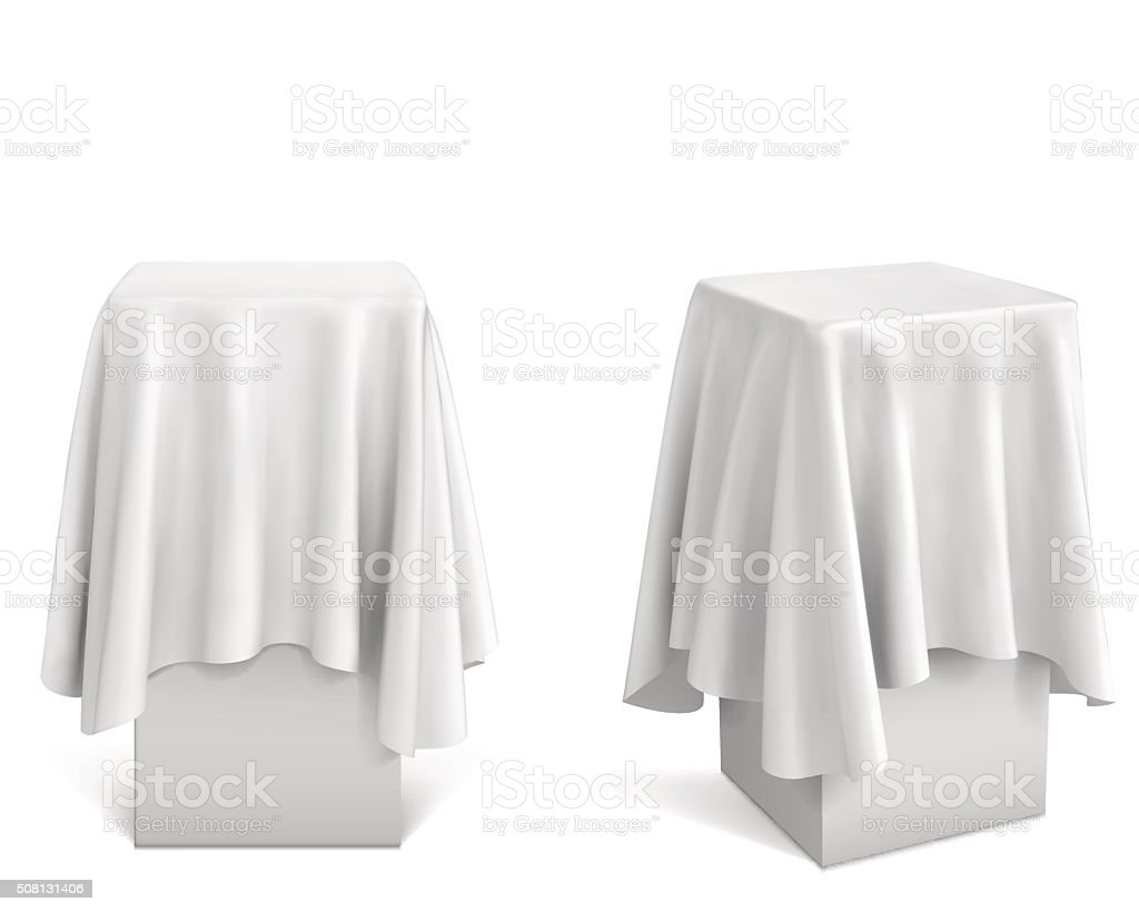 Presentation pedestal covered with a white cloth vector art illustration