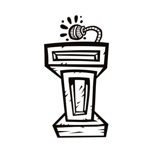 präsentation-podium für vorträge oder öffentlich zu sprechen - vektorgrafik - standlautsprecher stock-grafiken, -clipart, -cartoons und -symbole