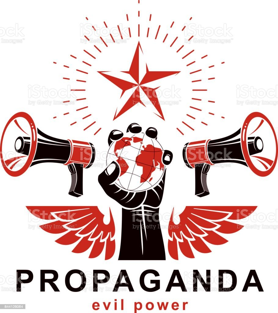 Presentation poster composed with loudspeakers, raised arm holds Earth globe, vector illustration. Propaganda as the means of global manipulation and control. vector art illustration
