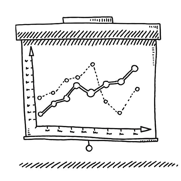 Presentation Roll-Up Display Graph Drawing Hand-drawn vector drawing of a Presentation Roll-Up Display with a Business Graph on it. Black-and-White sketch on a transparent background (.eps-file). Included files are EPS (v10) and Hi-Res JPG. business stock illustrations