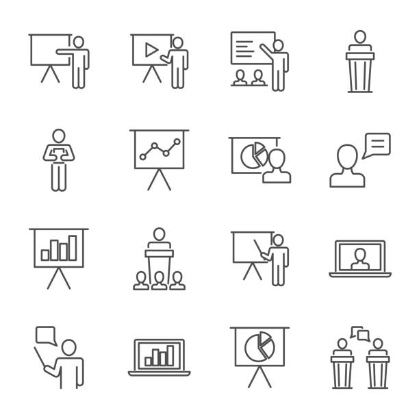 Presentation set of vector icons line style vector art illustration