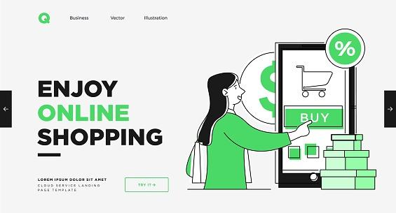 Presentation slide template or landing page website design. Business concept illustrations. Modern flat outline style. Online shopping