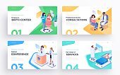 Presentation slide templates or hero banner images for websites, or apps. Medical concept illustrations. Modern isometric style. Vector
