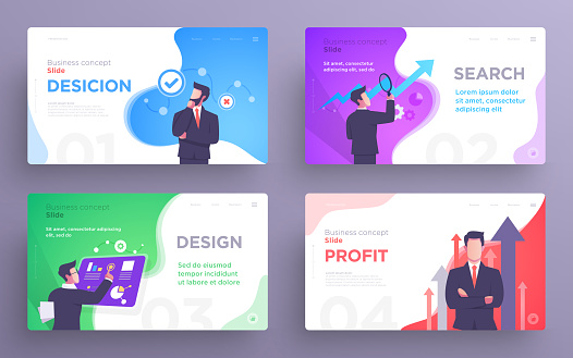 Presentation slide templates or hero banner images for websites, or apps. Business concept illustrations. Modern flat style clipart