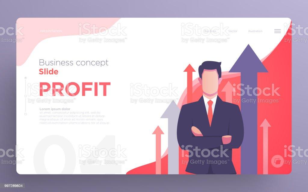 Presentation slide templates or hero banner images for websites, or apps. Business concept illustrations. Modern flat style. – artystyczna grafika wektorowa