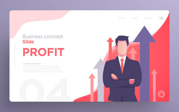 illustrazioni stock, clip art, cartoni animati e icone di tendenza di presentation slide templates or hero banner images for websites, or apps. business concept illustrations. modern flat style. - business man