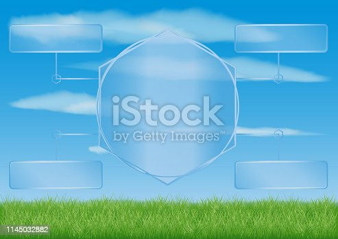 presentation table template made of transparent elements. against the background of a summer field with green grass and blue sky with clouds