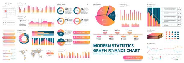 stockillustraties, clipart, cartoons en iconen met sjabloon presentatieontwerp. zakelijke gegevens grafieken. - infographic