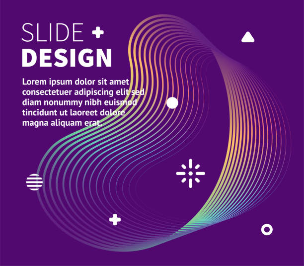 presentation template & dynamic fluid lines - e-learning not icons stock illustrations