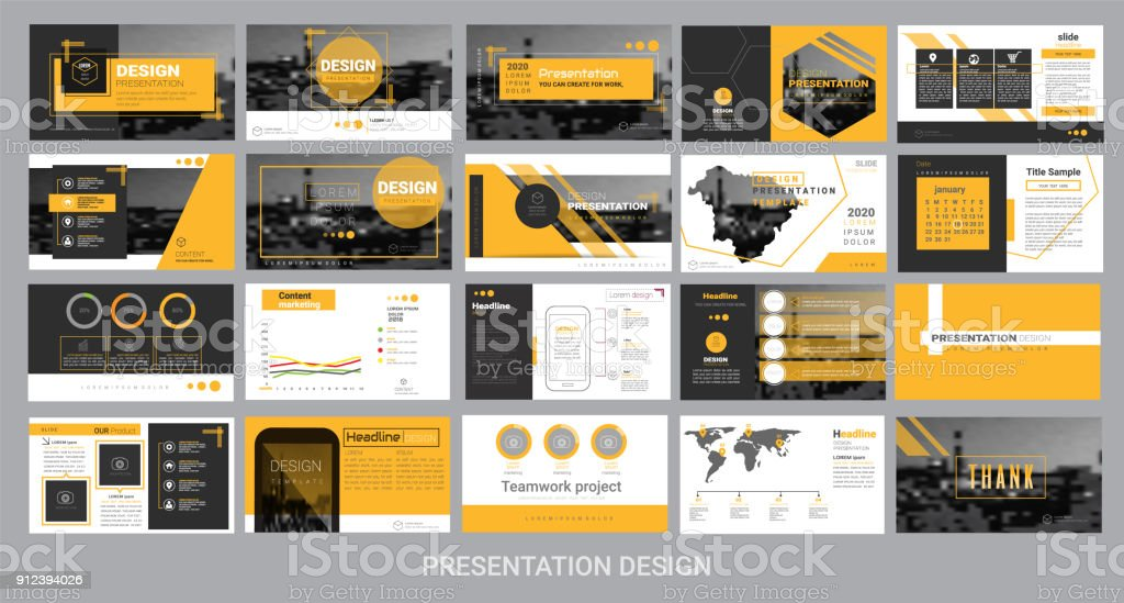presentation template for promotion, advertising, flyer, brochure, product, report, banner, business, modern style on black and yellow background. vector illustration vector art illustration