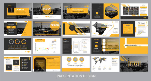 presentation template for promotion, advertising, flyer, brochure, product, report, banner, business, modern style on black and yellow background. vector illustration - brochure templates stock illustrations, clip art, cartoons, & icons