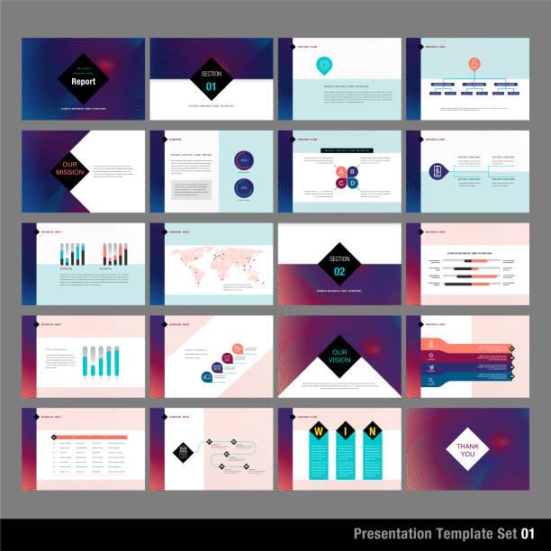 presentation template set vector art illustration