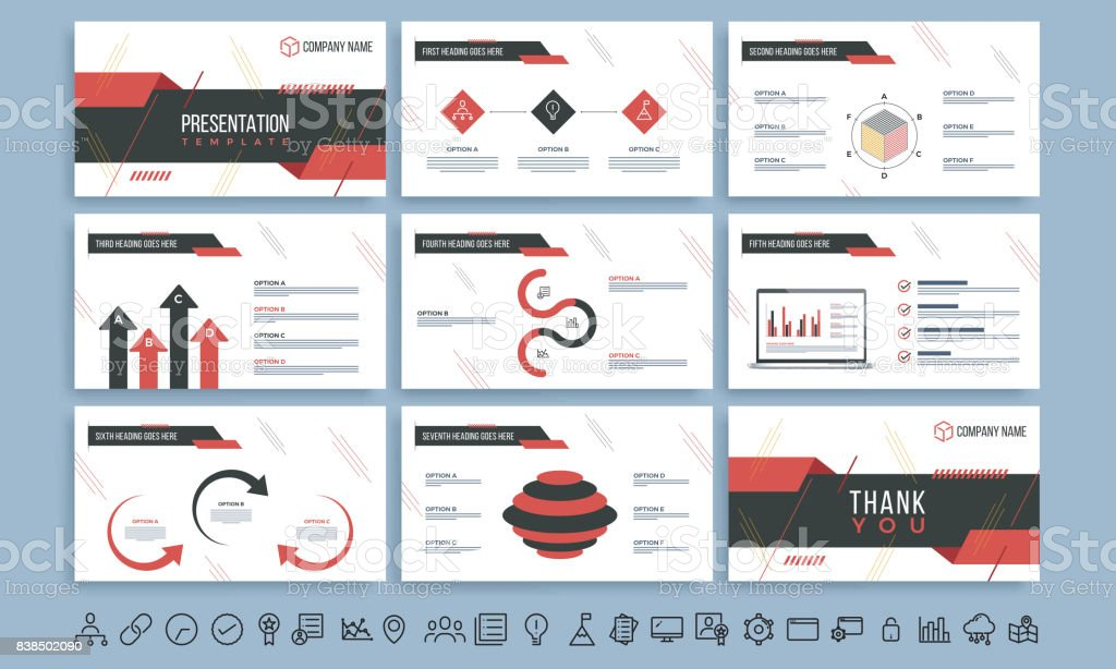 Presentation Template With Red And Black Infographic Elements And