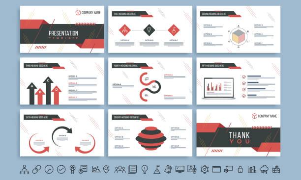 präsentationsvorlage mit roten und schwarzen infografik elementen und sammlung von web-symbole für business-konzept. - zeitschrift grafiken stock-grafiken, -clipart, -cartoons und -symbole