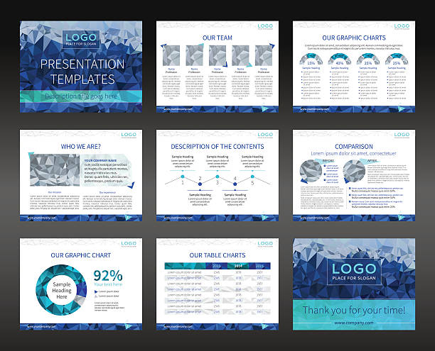 präsentation-vorlagen und broschüren-layout-design für geschäftsreisende - tischarrangements stock-grafiken, -clipart, -cartoons und -symbole