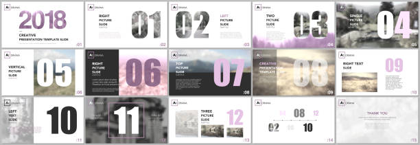 Presentation templates. Calendar planner for 2018 year. Pink color elements on a white background. Brochure cover vector design. Presentation slides for flyer, leaflet, brochure, report, marketing. vector art illustration