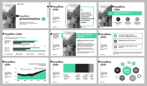 Presentation templates elements on a white background. vector art illustration
