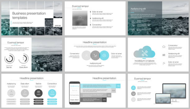 presentation templates elements on a white background. - website infographics stock illustrations, clip art, cartoons, & icons