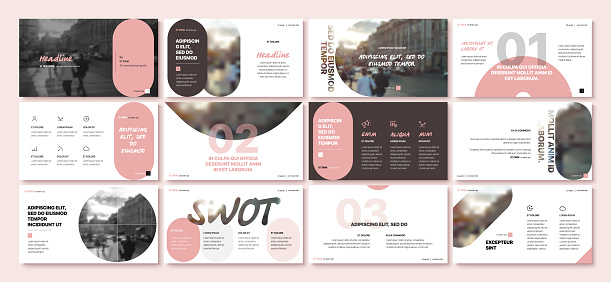 Presentation templates elements on a white background. Vector infographics.