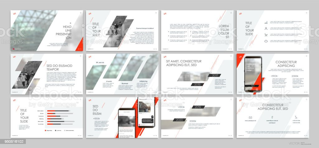 Presentation templates with red elements on a white background. - illustrazione arte vettoriale
