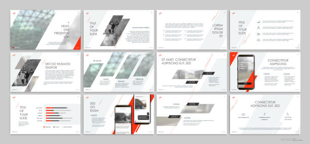 presentation templates with red elements on a white background. - annual reports templates stock illustrations