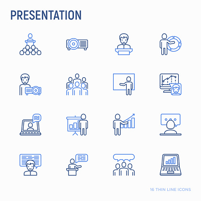 Presentation thin line icons set: seminar, human at tribune, meeting, projector , audience, video call, conference, discussion. Modern vector illustration.