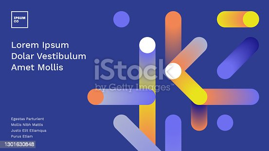 istock Presentation title slide design layout with abstract geometric connection graphics 1301630848