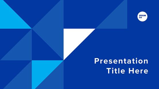 Presentation title slide design template with geometric triangle graphics