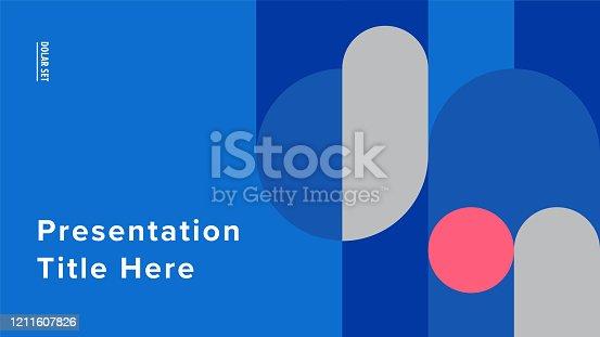 istock Presentation title slide design template with retro midcentury geometric graphics 1211607826