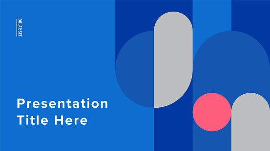 Presentation title slide design template with retro midcentury geometric graphics