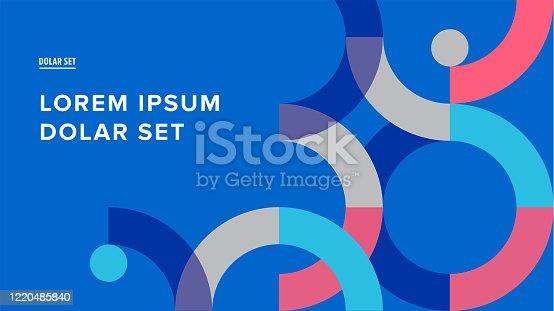 istock Presentation title slide design template with retro midcentury geometric graphics 1220485840
