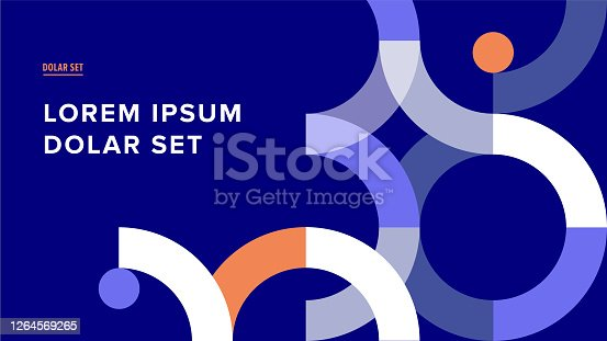 istock Presentation title slide design template with retro midcentury geometric graphics 1264569265