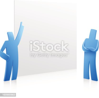 Stylized people presentation on white background. Vector illustration with transparency in EPS'10.