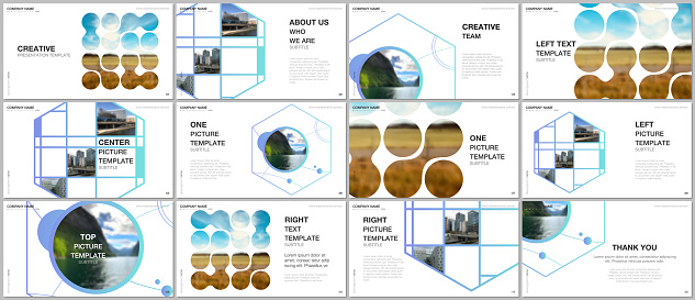 Presentation vector templates, multipurpose template for presentation slide, flyer, brochure cover design, infographic presentation. Abstract smart technology design with hexagons and place for photo.