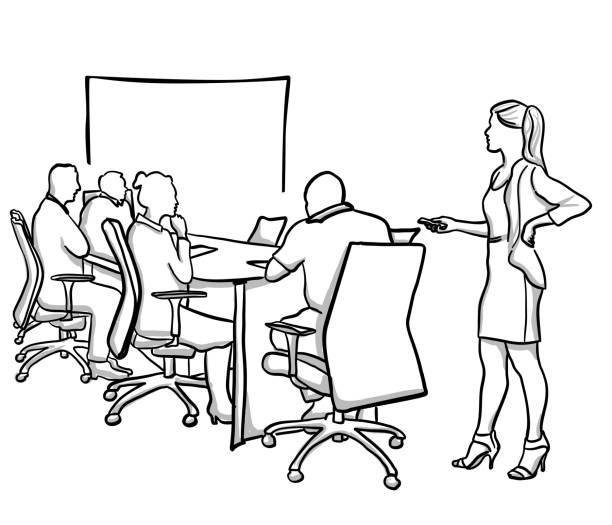 Präsentation Frau Geschäftskleidung – Vektorgrafik
