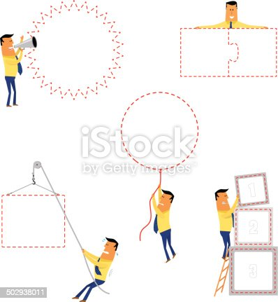 Collection of cartoons with empty banner to fill-in, to use in presentations or communications.