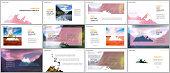 Presentations design, vector templates. Background for tourist camp, nature tourism, camping. Aadventure design concept. Multipurpose template for presentation slide, flyer leaflet, brochure cover