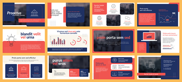 Presentations templates elements and infographics in vector design. Slide show presentation.