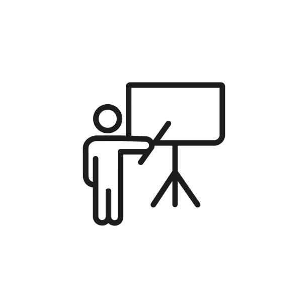 moderatorin bei flipchart liniensymbol - flipchart stock-grafiken, -clipart, -cartoons und -symbole