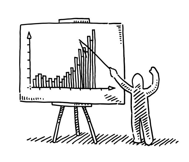Presenter Explaining A Bar Chart Drawing Hand-drawn vector drawing of a Presenter Explaining A Bar Chart. Black-and-White sketch on a transparent background (.eps-file). Included files are EPS (v10) and Hi-Res JPG. cartoon character figure stock illustrations