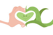 Illustration in cartoon style, showing a human hand, forming a heart, with a smile in the middle, with a plant, representing the relationship of the human being with nature, showing preservation and respect for the environment.