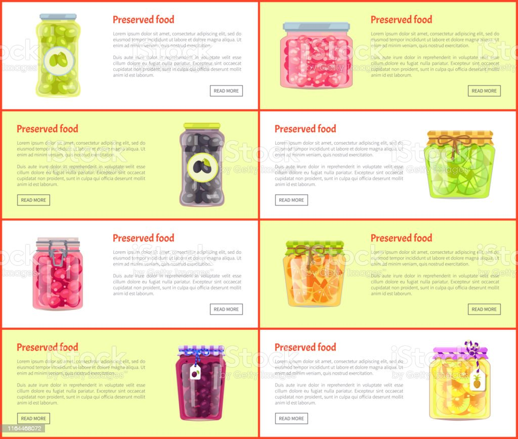 Preserved food banners set of canned products. Fruits, berries and...