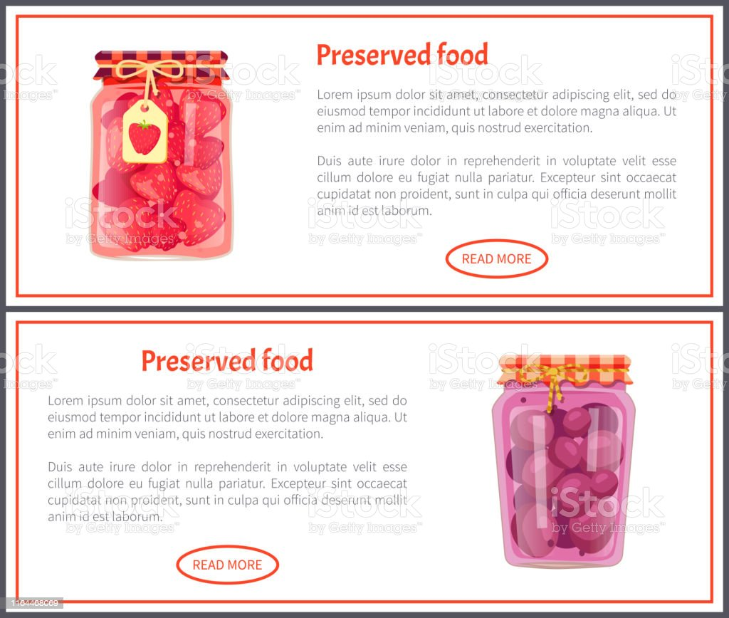 Preserved food banners with fruit or berry in jars. Cherry and peach...