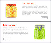 Preserved food pea posters with text set. Homemade meal confiture conserved in glass jars. Vegetables and cherry-plum yellow fruit marinated vector