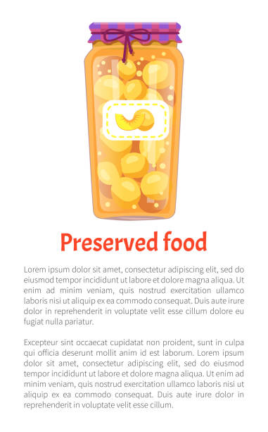 konservierte lebensmittel pfirsiche poster vektor illustration - nektarinenmarmelade stock-grafiken, -clipart, -cartoons und -symbole
