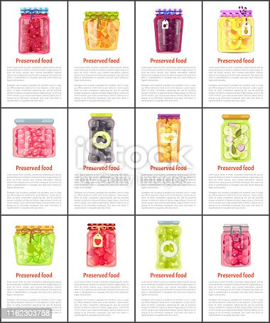 Preserved fruit and vegetables vector illustration. Strawberry and raspberry, olive and salad, pineapple and peach, citrus and berry jam in glass jars