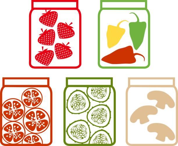 Preserved vegetables and fruits Preserved vegetables and fruits pickle slice stock illustrations