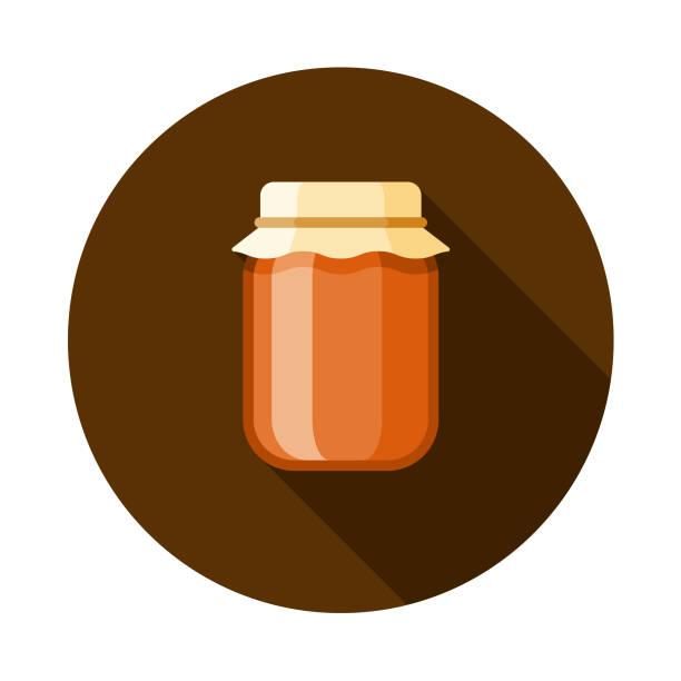 ilustrações de stock, clip art, desenhos animados e ícones de preserves flat design autumn icon with side shadow - jam jar