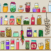 A colorful hand drawn seamless pattern. Preserve jars and ristras on shelves. Food, preserves, jams, drinks, fruit, vegetables.... EPS10 vector illustration, global colors, easy to modify.